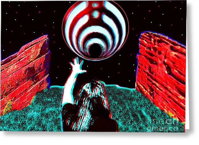 Ping Pong Greeting Cards - Bassnectar Red Rocks 15 Tribute Greeting Card by Andrew Kaupe