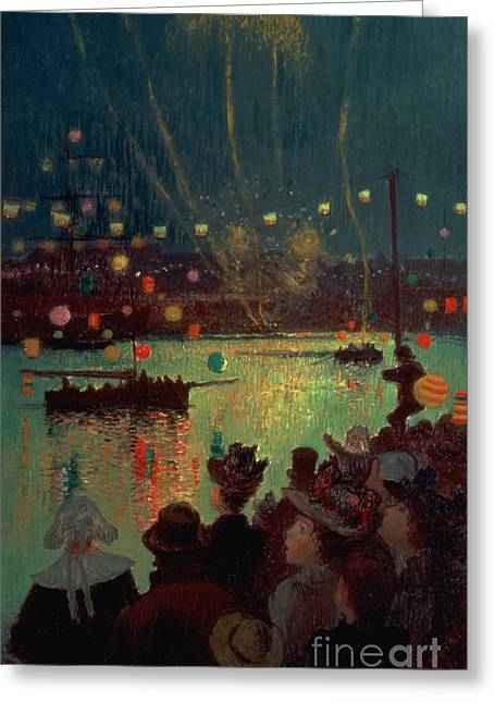 Chinese Lanterns Greeting Cards - Bastille Day at Lorient Greeting Card by Henry Moret