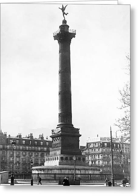 Bastille Photographs Greeting Cards - Bastille Monument In Paris Greeting Card by Underwood Archives