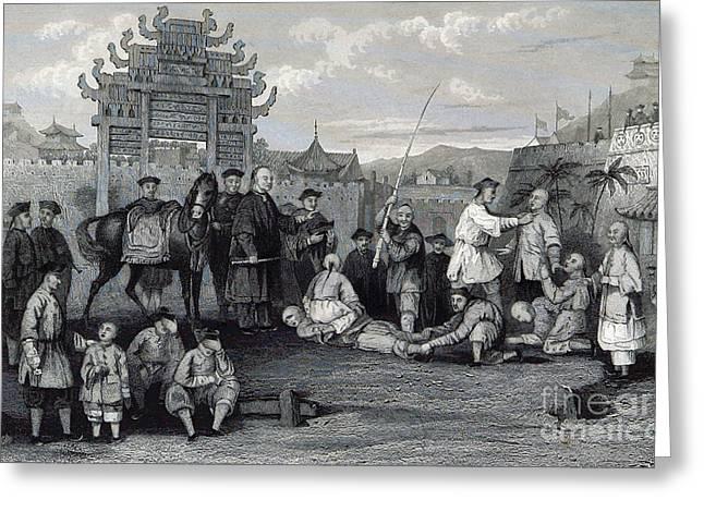 Ashamed Greeting Cards - Bastinado, China, 19th Century Greeting Card by British Library