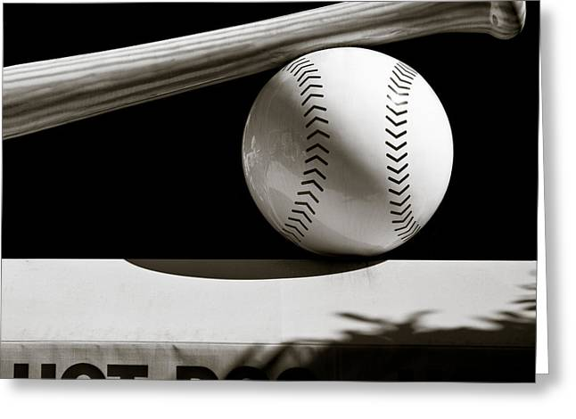 Baseball Game Greeting Cards - Bat and Ball Greeting Card by Dave Bowman