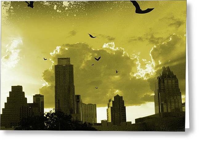 Austin. Bats Greeting Cards - Bat City Greeting Card by Andrew Nourse