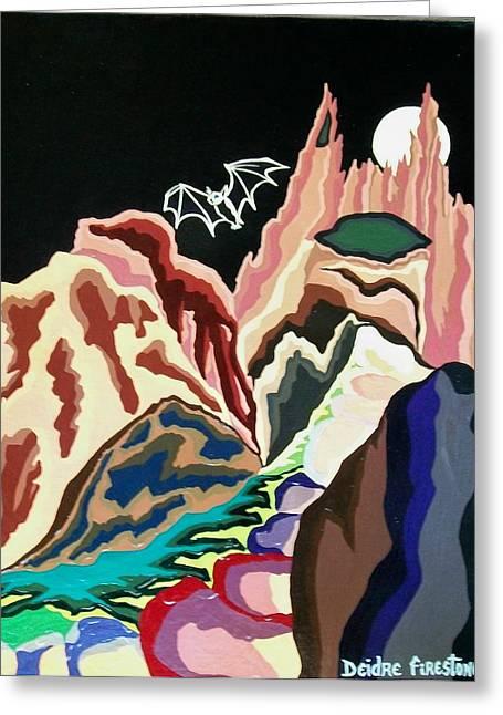 Gothic Art Greeting Cards - Bat Mountain Greeting Card by Deidre Firestone