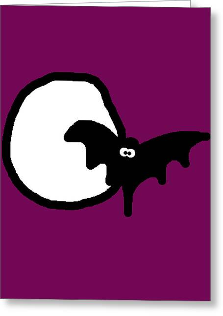Bat N Moon Greeting Card by Jera Sky