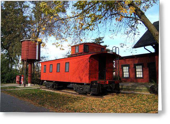 Caboose Greeting Cards - Batavia Depot Caboose Greeting Card by Ely Arsha