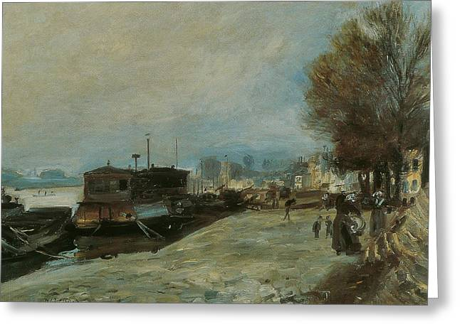 Renoir Greeting Cards - Bateau lavoir sur la Seine Greeting Card by Auguste Renoir