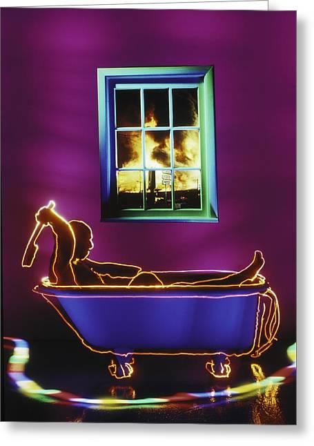 Bath Greeting Card by Garry Gay