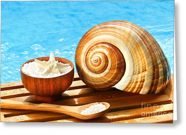 Stress Greeting Cards - Bath salts and sea shell by the pool Greeting Card by Sandra Cunningham