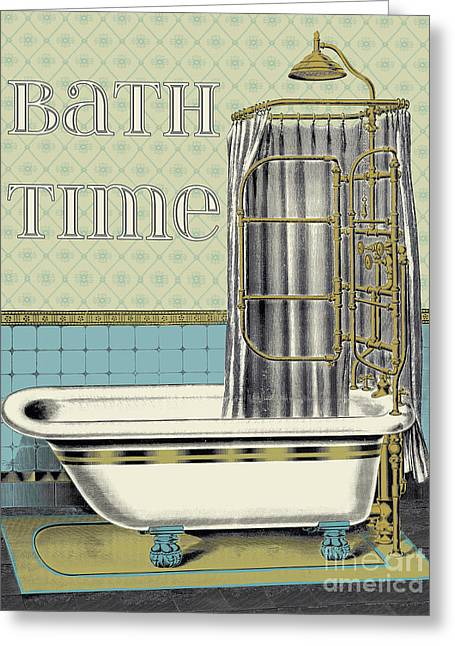 Unwind Paintings Greeting Cards - Bath Time-JP2682 Greeting Card by Jean Plout