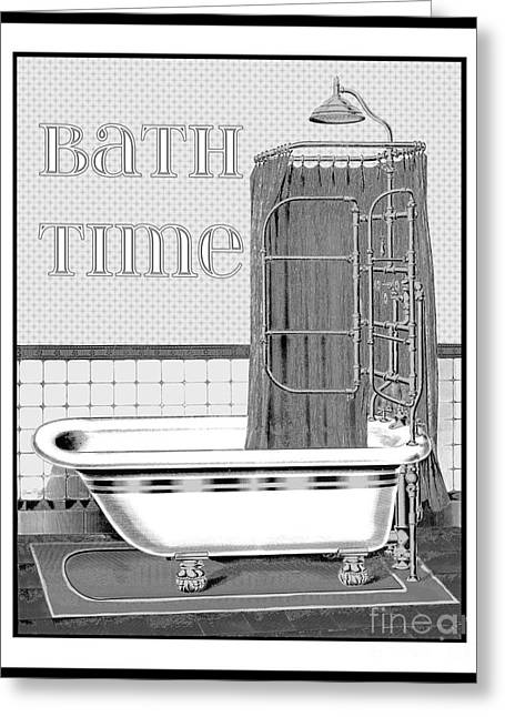 Unwind Paintings Greeting Cards - Bath Time-JP2686 Greeting Card by Jean Plout