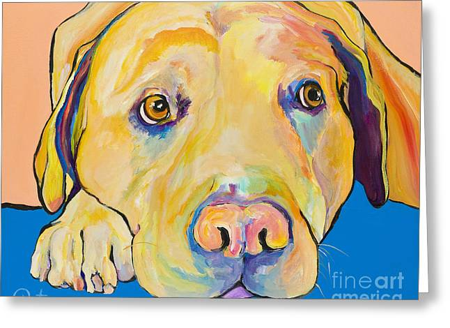 Yellow Dog Greeting Cards - Bath Time Greeting Card by Pat Saunders-White