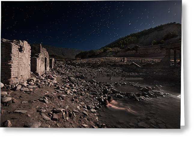 Ruins Greeting Cards - Bath Under The Stars Greeting Card by Martin Zalba