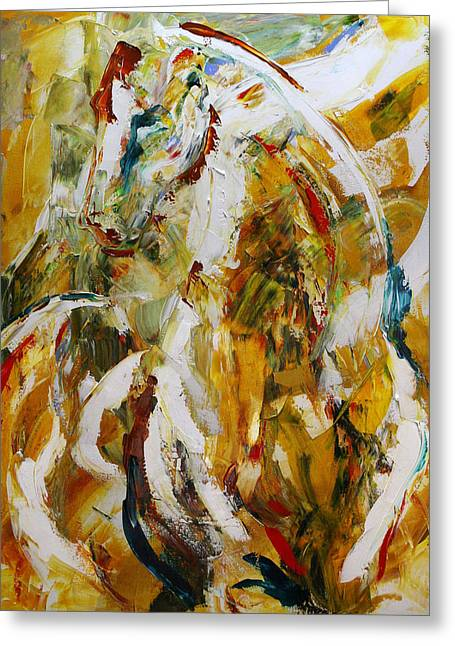 Abstract Horse Greeting Cards - Bathed in Gold Greeting Card by Laurie Pace