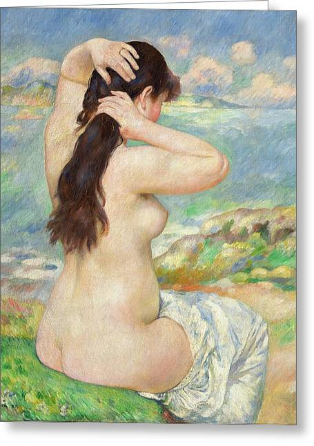 Dressing Greeting Cards - Bather Arranging her Hair Greeting Card by Pierre Auguste Renoir