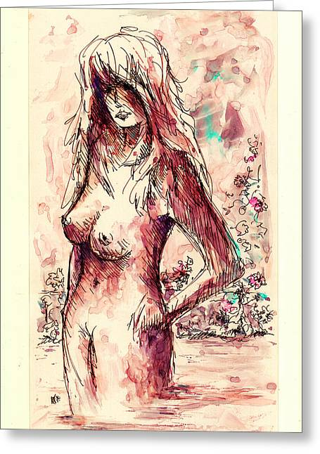 Figure Drawing Greeting Cards - Bather Greeting Card by Rachel Christine Nowicki