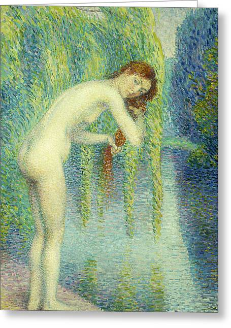 Bather Washing Her Hair Greeting Card by Hippolyte Petitjean