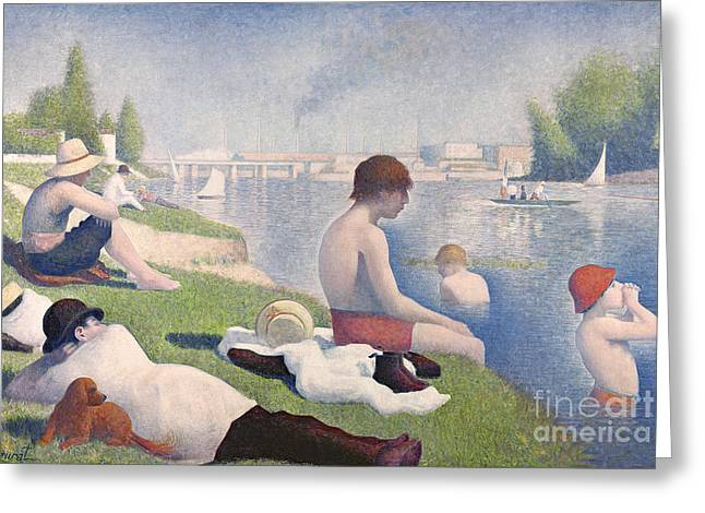 Bathers at Asnieres Greeting Card by Georges Pierre Seurat