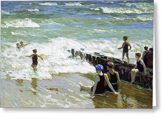 On The Beach Greeting Cards - Bathers at Breakwater Greeting Card by Edward Henry Potthast