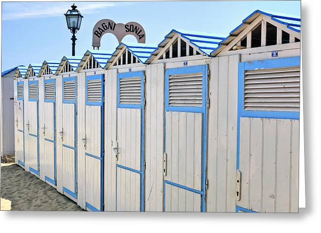 Cabana Greeting Cards - Bathhouses in the Mediterranean Greeting Card by Joana Kruse