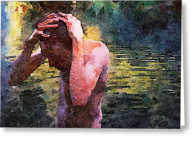 Stream Digital Art Greeting Cards - Bathing at the Stream Greeting Card by David Derr