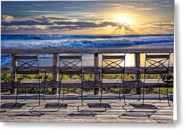 Foggy Beach Greeting Cards - Bathing Beauties Greeting Card by Debra and Dave Vanderlaan