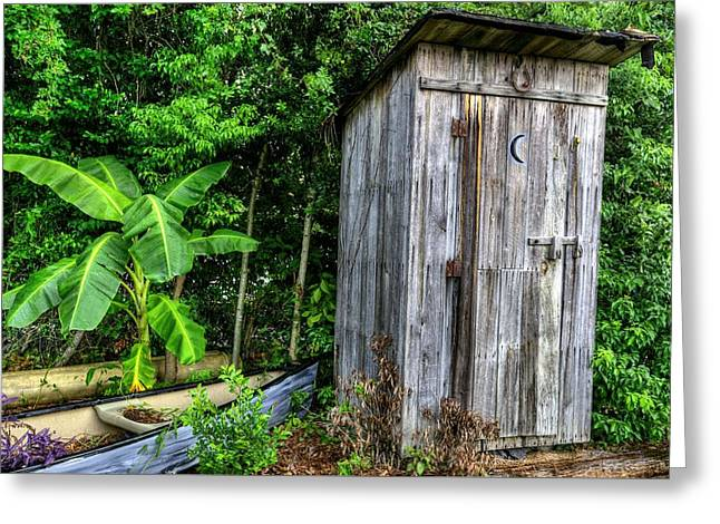 Wooden Outhouse Greeting Cards - Bathroom Art Greeting Card by JC Findley