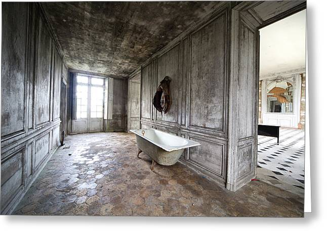 Ghost Castle Greeting Cards - Bathroom Decay - Urban Exploration Greeting Card by Dirk Ercken