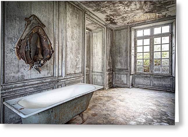 Ghost Castle Greeting Cards - Bathroom In Decay - Abandoned Building Greeting Card by Dirk Ercken