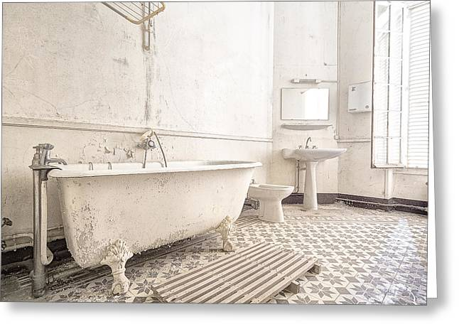 Abandoned Places Greeting Cards - Bathroom In White - Urban Decay Greeting Card by Dirk Ercken