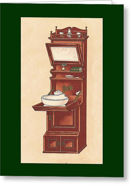 Mahogany Mixed Media Greeting Cards - Bathroom Picture Wash stand Greeting Card by Eric Kempson