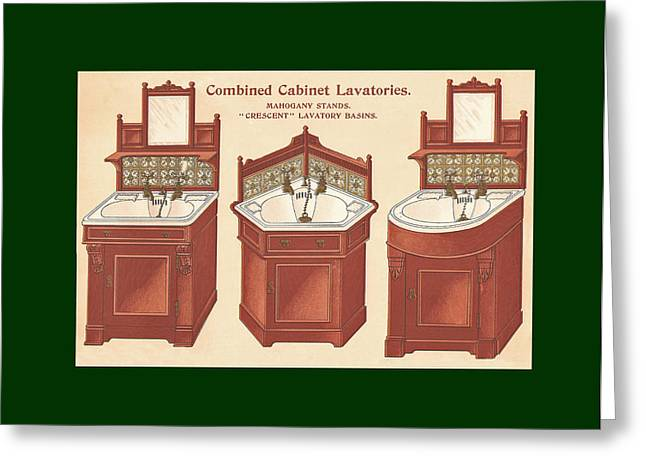 Mahogany Mixed Media Greeting Cards - Bathroom Picture Wash stand Three Greeting Card by Eric Kempson
