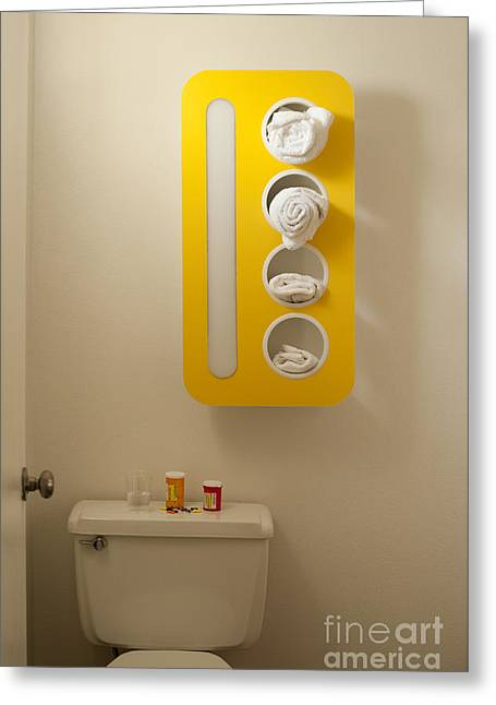 Tablets Greeting Cards - Bathroom with Pill Bottles Greeting Card by Jim Corwin