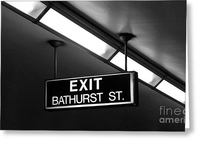Florescent Lights Greeting Cards - Bathurst Street Subway Exit  Greeting Card by Nina Silver