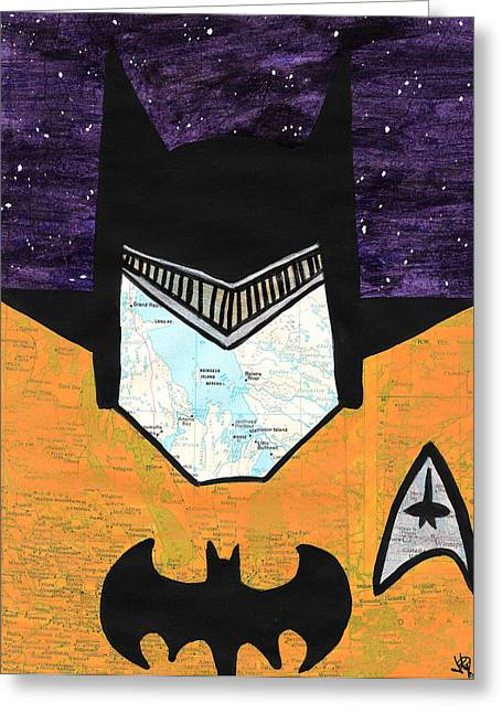 Mashup Greeting Cards - Batman as Geordi La Forge Greeting Card by Jera Sky