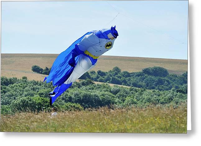 A Hot Summer Day Greeting Cards - Batman at Brighton Kite Festival  Greeting Card by Simon Dack