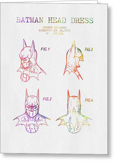 Batman Drawings Greeting Cards - Batman Head Dress Patent - Color Greeting Card by Aged Pixel