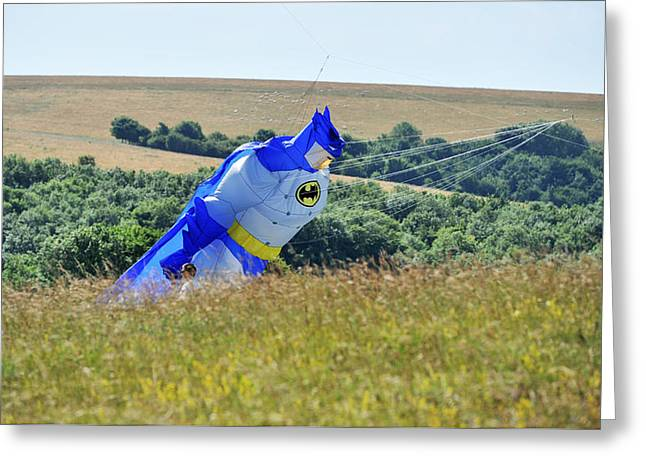 A Hot Summer Day Greeting Cards - Batman Kite Greeting Card by Simon Dack