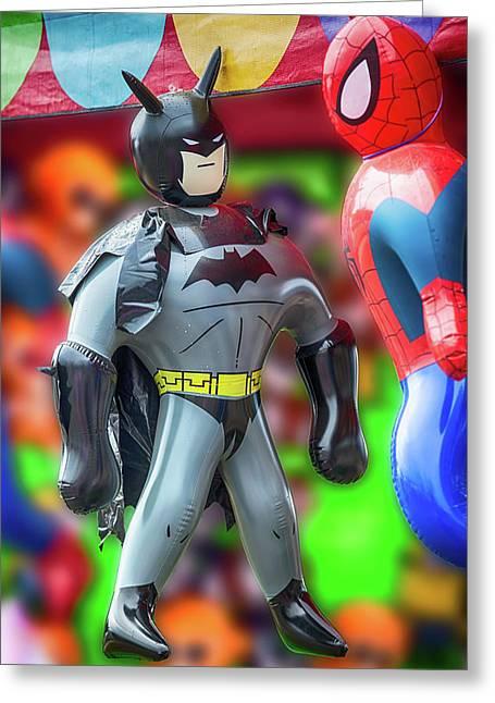 Batman Meets Spiderman Greeting Card by John Haldane