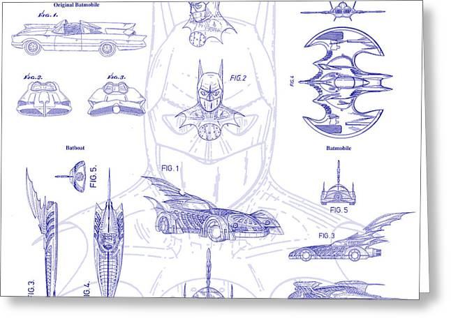 Batman Photographs Greeting Cards - Batman Patent Blueprint Greeting Card by Jon Neidert