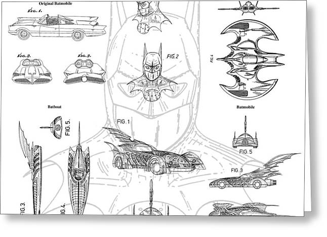 Batman Photographs Greeting Cards - Batman Patent Drawing Greeting Card by Jon Neidert