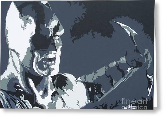 Batman- Shadow Of Justice Greeting Card by Kelly Hartman
