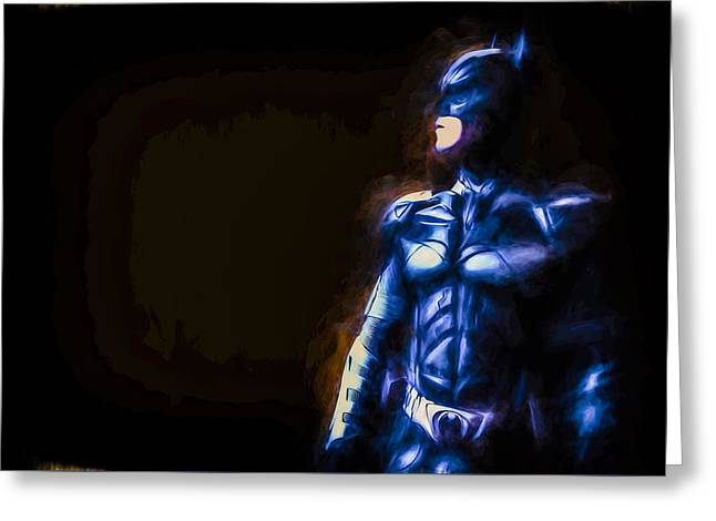 Painted Hall Greeting Cards - Batman The Dark Knight Digitally Painted Greeting Card by David Haskett