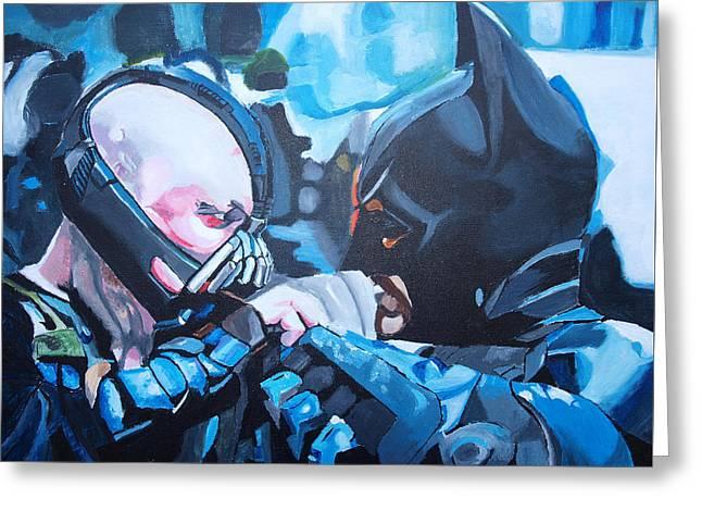 Batman Vs Bane Greeting Card by Martin Putsey