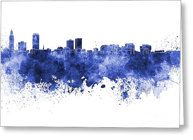 Baton Rouge Greeting Cards - Baton Rouge skyline in blue watercolor on white background Greeting Card by Pablo Romero