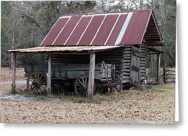 Wooden Wagons Greeting Cards - Battered Barn - Digital Art Greeting Card by Al Powell Photography USA