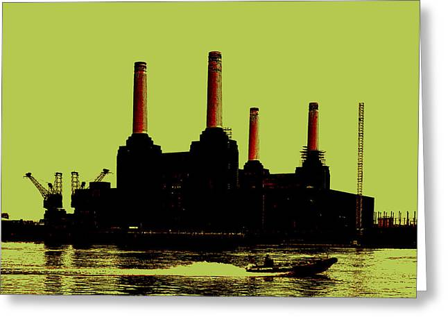 Power Digital Art Greeting Cards - Battersea Power Station London Greeting Card by Jasna Buncic