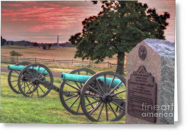 Battery F Cannon Gettysburg Battlefield Greeting Card by Randy Steele