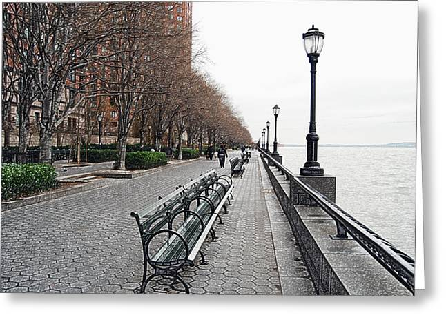 Battery Park Greeting Card by Michael Peychich