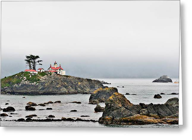 Misty Greeting Cards - Battery Point Lighthouse California Greeting Card by Christine Till