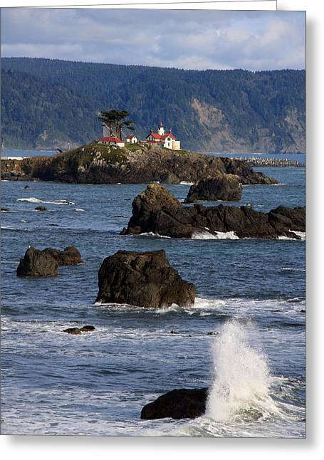 Surf City Greeting Cards - Battery Point Lighthouse Greeting Card by Cathy Varner